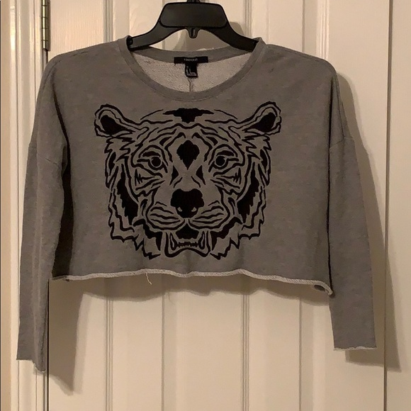 Forever 21 Cropped Embroidered Tiger Sweatshirt S
